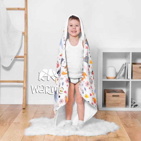 Рушник дитячий банний з капюшоном Warmo™ ЗВІРІ ІНДІАНЦІ НА СВІТЛОМУ 100x100см