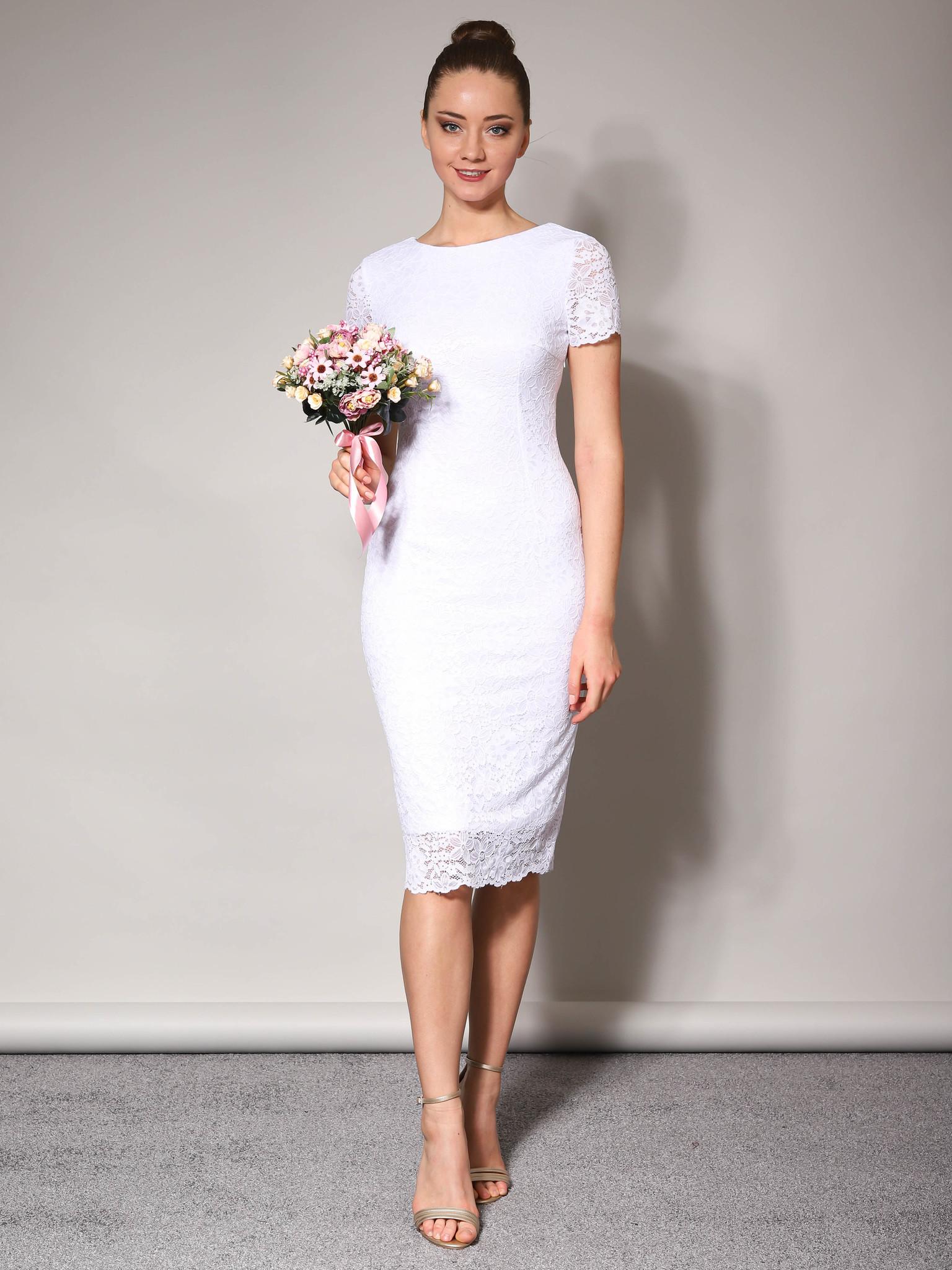 Свадебное кружевное платье с коротким рукавом (белый)