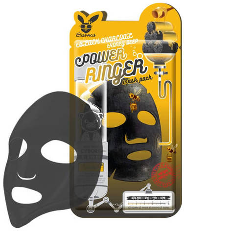 Elizavecca Тканевая маска с древесным углем и медом Black Charcoal Honey Deep Power Ringer Mask Pack, 1 шт