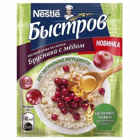 Каша БЫСТРОВ Овсяная Брусника с медом 40 г м/у РОССИЯ