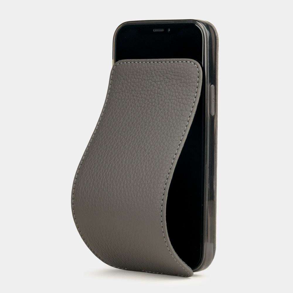 Чехол для iPhone 12/12Pro из натуральной кожи теленка, серого цвета