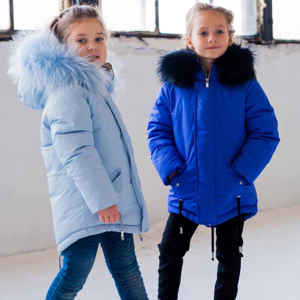Зимняя детская подростковая парка голубого цвета с натуральным мехом