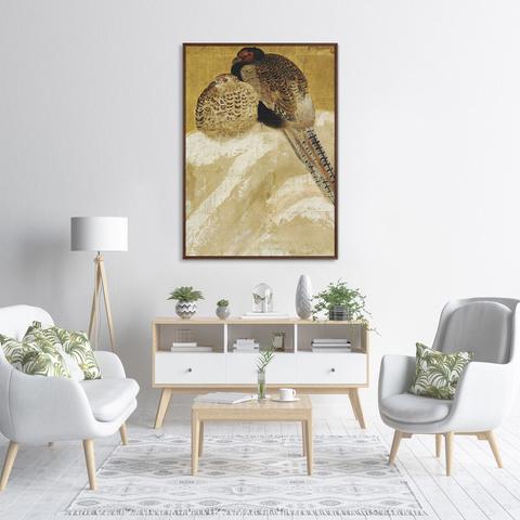 Неизвестен - Два фазана на заснеженном берегу, Япония, 18 век