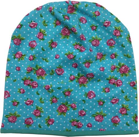 Летняя шапочка бини с принтом розочки на мятном фоне с подкладом из мятного трикотажа
