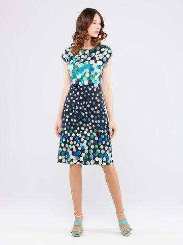 Фото летнее легкое платье миди приталенного силуэта с ярким принтом в горошек - Платье З908-421 (1)