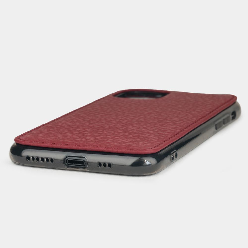 Чехол-накладка для iPhone 11 Pro Max из натуральной кожи теленка, вишневого цвета