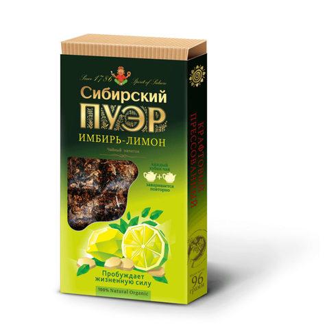 "Чай ""Сибирский пуэр"" имбирь-лимон, плиточный 96 г"