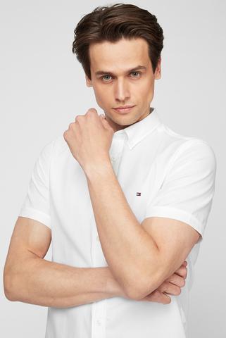 Мужская белая рубашка SLIM TRAVEL OXFORD SHIRT S/S Tommy Hilfiger