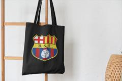 Сумка-шоппер с принтом FC Barcelona (ФК Барселона) черная 002