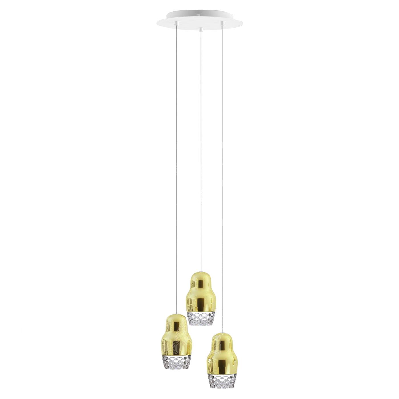 Подвесной светильник копия FEDORA 3 by AXO LIGHT  (золотой)