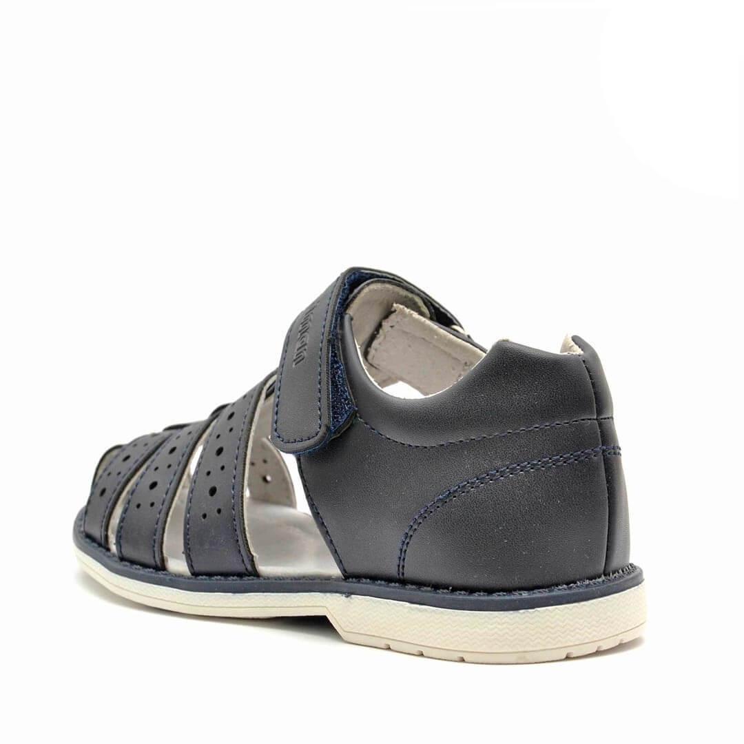 Кожаные сандалики с каблуком Томаса Nordman Boom темно-синие с перфорацией