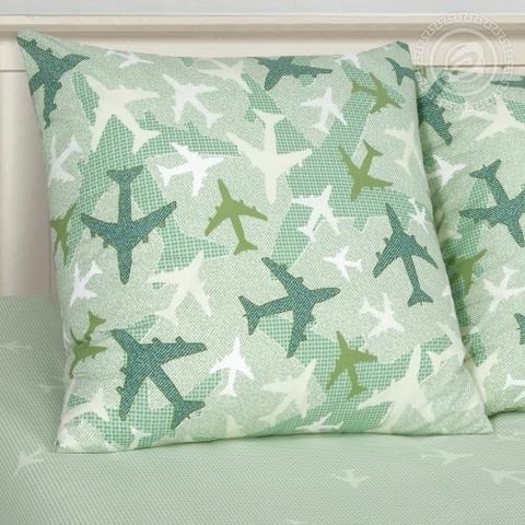 Детское постельное бельё Самолетики зеленые ПОПЛИН