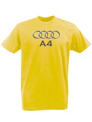 Футболка с принтом Ауди A4 (Audi A4) желтая 001