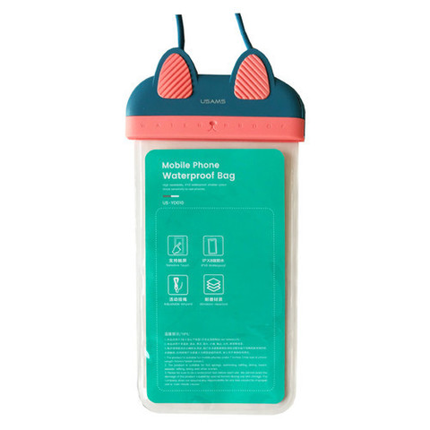 Чехол водонепроницаемый Usams для телефона до 7.0 /blue pink/ YD010