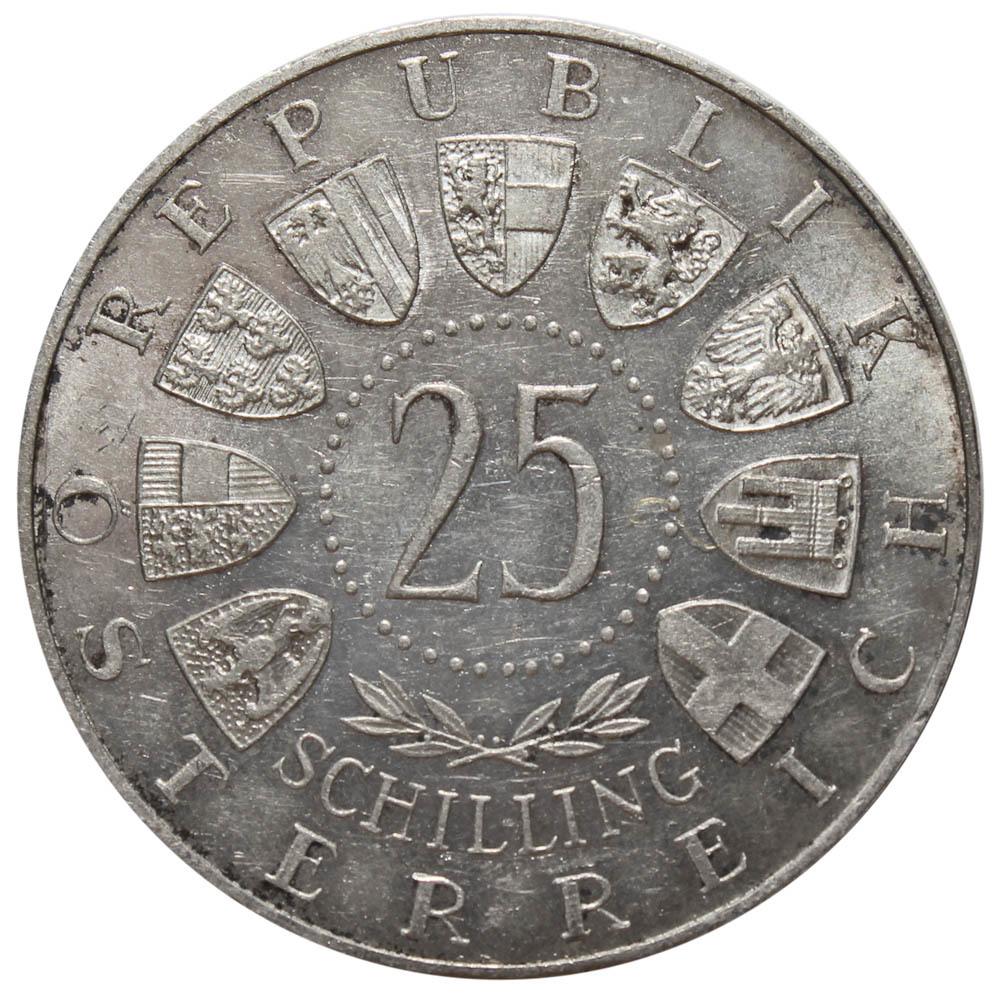 25 шиллингов. 100 лет со дня рождения  Карла Ауэра фон Вельсбаха. Австрия. Серебро. 1958 год. XF-AU