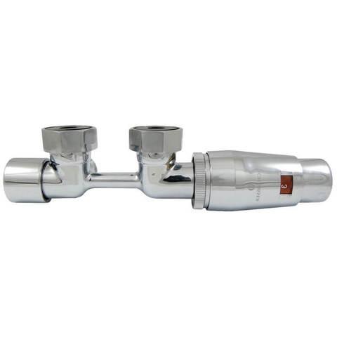 Узел подключения DUO-PLEX MINI Invest угловой правый, хром, головка М30х1,5. 3/4 x М22x1,5 + 2 Ниппеля 1/2x3/4