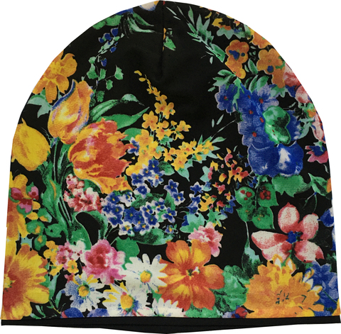 Женская шапочка бини с цветочным принтом