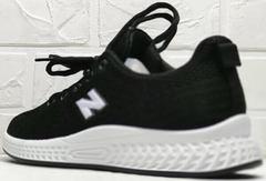 Стильные черные кроссовки с белой подошвой женские Fashion Leisure QQ116.