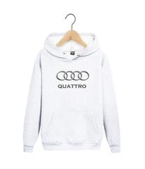Толстовка белая с капюшоном (худи, кенгуру) и принтом Ауди Кватро (Audi Quattro) 004