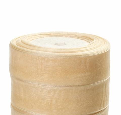 Лента органза (размер:25мм х 25 ярдов) Цвет: кремовый