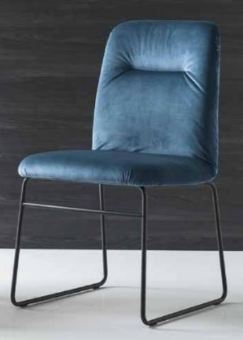 Стул GRETA CB/1904 MET.P15 MATT BLACK/ VENICE S0J OCEAN BLUE (обеденный, кухонный, для гостиной), Материал каркаса: Металл, Материал сиденья: Ткань, Цвет сиденья: Синий, Цвет: Синий