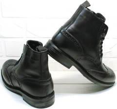Мужские зимние ботинки черные с мехом на шнуровке LucianoBelliniBC3801L.