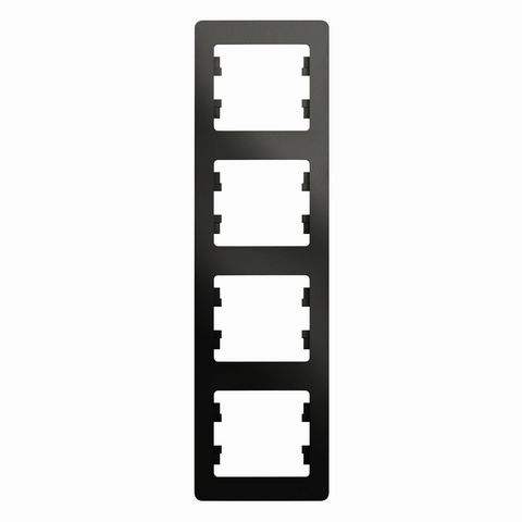 Рамка на 4 поста, вертикальная. Цвет Антрацит. Schneider Electric Glossa. GSL000708