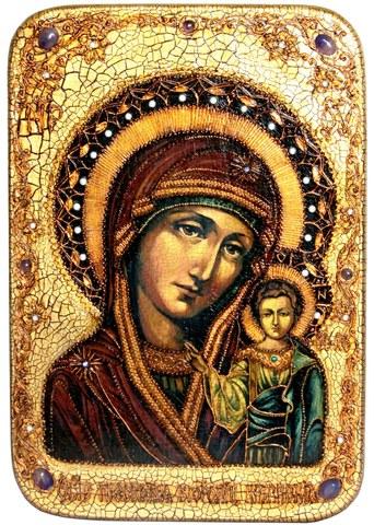 Инкрустированная большая икона Образ Божией матери Казанской 42х29см на натуральном дереве в подарочной коробке