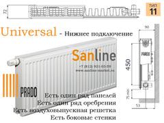 Радиатор Prado Universal Тип 11x500x500 Нижняя подводка