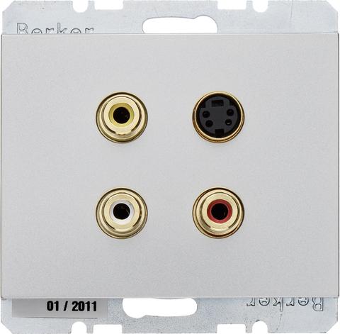 Розетка тройная RCA/S-Video. Цвет Нержавеющая сталь. Berker (Беркер). K.5. 3315327004. Цвет Нержавеющая сталь. Berker (Беркер). K.5. 3315327004