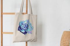 Сумка-шоппер с принтом Цветы (Розы) бежевая 005