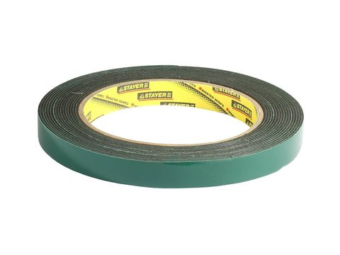Двухсторонняя клейкая лента на вспененной основе, STAYER Professional 12233-12-05, черная, 12мм х 5м