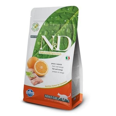 10 кг. FARMINA N&D GF Сухой беззерновой корм для взрослых кошек с рыбой и апельсином Adult Cat Fish&Orange