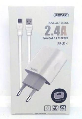 Адаптер ReMax  RP-U14+кабель microUSB 220/USB 2.4A