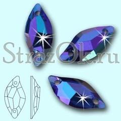 Стразы пришивные акриловые Leaf Sapphire AB, Листок Сапфир АБ синий с радужным покрытием на StrazOK.ru