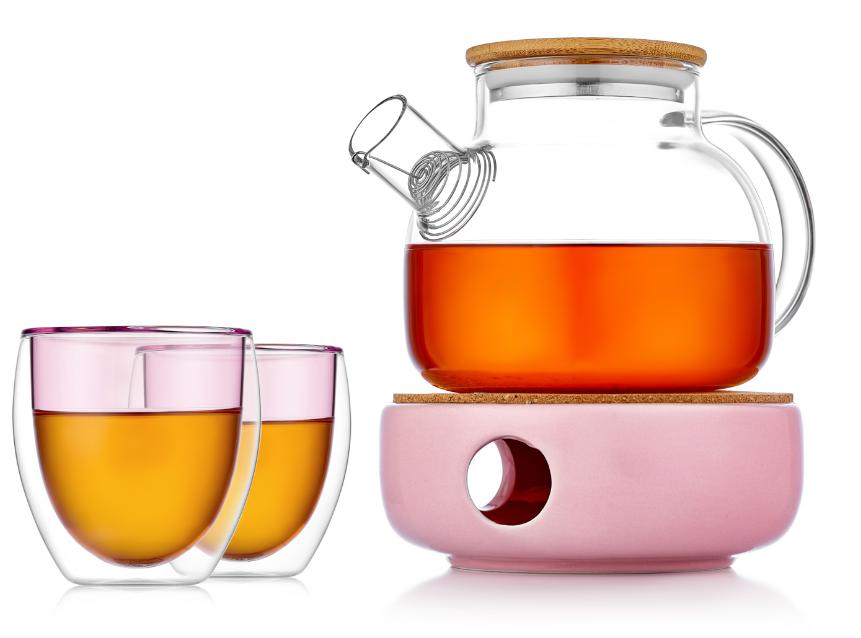 Чайные наборы Заварочный чайник на керамической подставке с подогревом от свечи с цветными стаканами с двойными стенками 128G5p23250pink.PNG