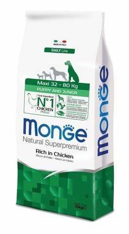 Купить сухой корм Monge Dog Maxi Puppy корм для щенков крупных пород с курицей