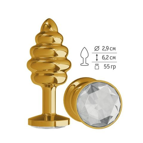 Анальная втулка Gold Spiral с прозрачным кристаллом маленькая
