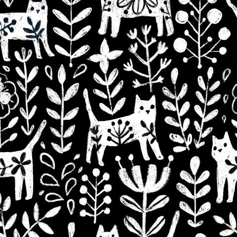 Белые коты и растения, цветы. White cats, plants and flowers.