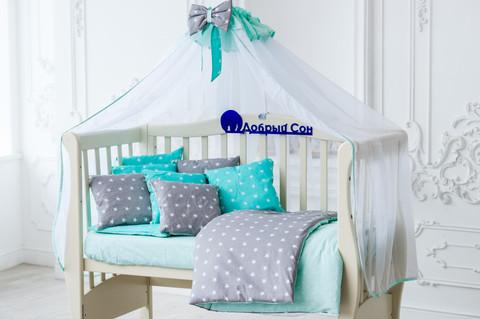 Комплект постельного белья для новорождённых Bravo 2 03-04 серо-мятный