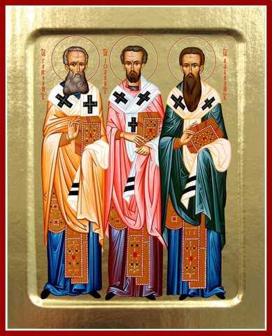 Икона Три святителя: Василий Великий, Григорий Богослов и Иоанн Златоуст, на дереве, 125х160 мм
