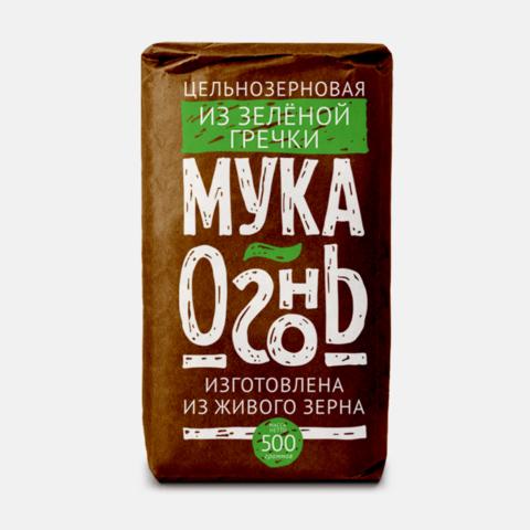 Мука Огонь из зеленой гречки цельносмолотая, 500 гр. (Образ жизни)