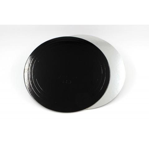 Подложка для торта d=26 см (1,5мм) серебро/черный