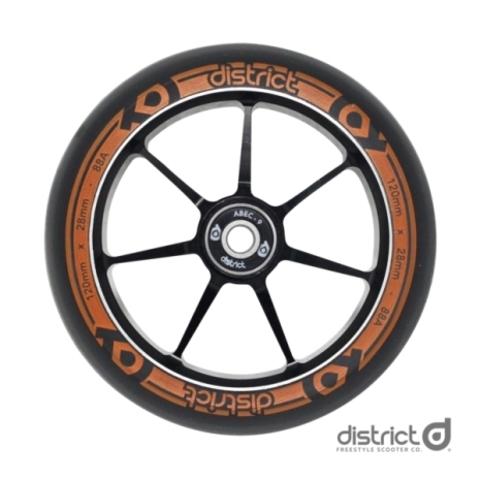 Колеса с подшипниками District 120x28mm Dual Width Core - Black/Orange