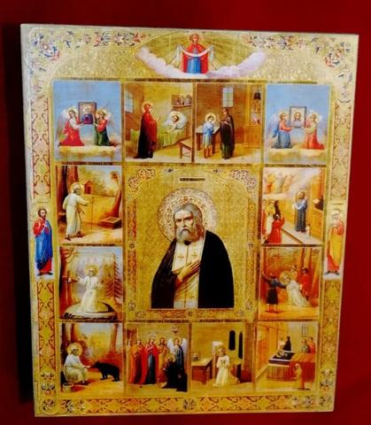Икона святой Серафим Саровский с житием на дереве на левкасе мастерская Иконный Дом
