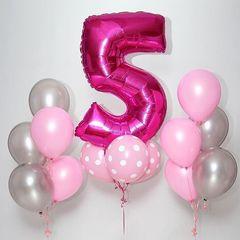 Воздушный шар (40''/102 см) Цифра, 5, Фуше, 1 шт.