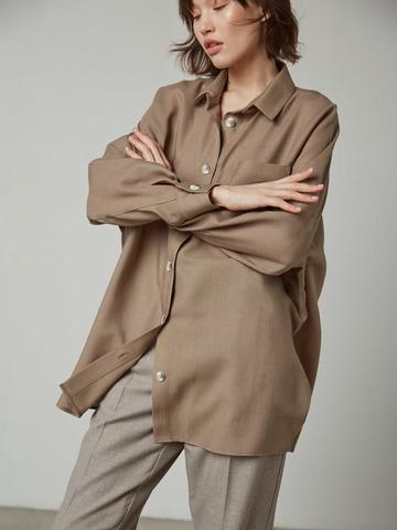 Рубашка свободного покроя из шерсти хаки
