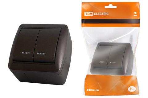 Выключатель 2-кл. открытой установки с подсветкой IP44 10А шоколад