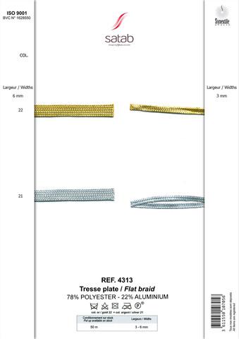 ST 4313 Шнур плоский золото/серебро