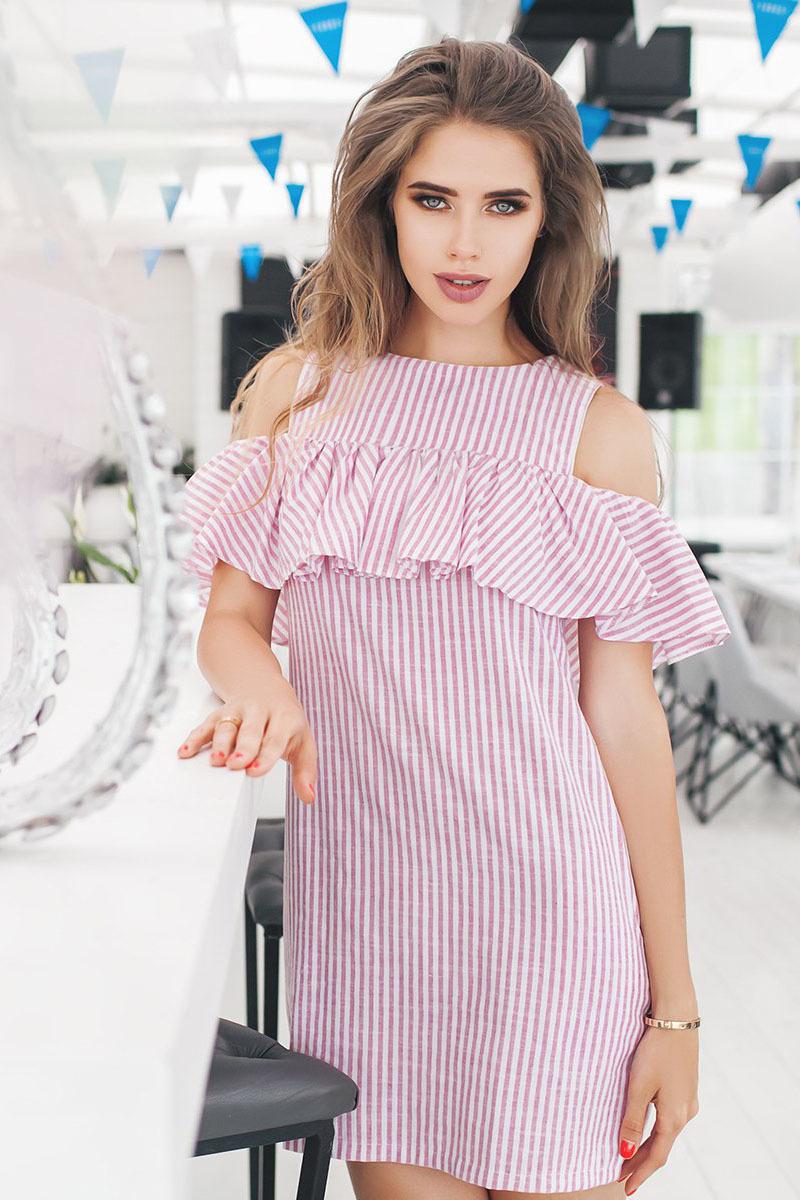 Летнее льняное платье в полоску, с открытыми плечами